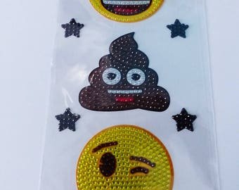3 large stickers emoticons 7 centimeters in rhinestones and 4 star emoji sticker