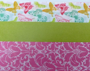 3 sheets of paper decopatch 40 X 60 cm Green Butterfly and pink vintage flower