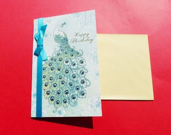 Golden green Peacock birthday card and blue glittered with Ribbon satin greeting card with envelope