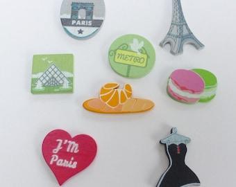 8 wooden Paris Eiffel Tower embellishments