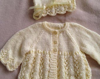 Scalloped Edged knit Cardigan and Hat with ribbon accents
