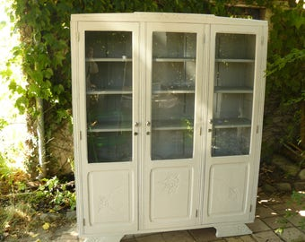 Library 3 cabinet doors painted off-white weathered and gray