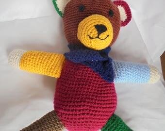 Teddy bear, stuffed, crocheted handbag,