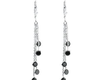 14k White Gold Chandelier Earrings with Round Black Cubic ZIrconia Stations By The Yard