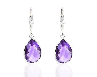 14K White Gold Handmade Gemstone Earrings With Dangling Pear Shape Amethyst