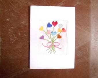 Embroidered card handmade on canvas - wedding bouquet