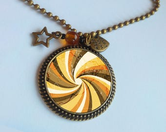 Orange long necklace - pendant - spiral