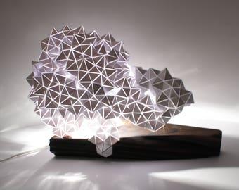 Geodesic Illuminated Sculpture on Wood Base