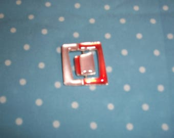 Square pink and Red resin and metal charm