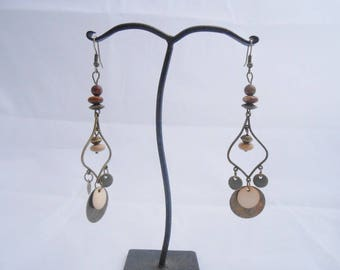 Bronze sequins and Jasper Bohemian earrings