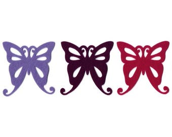 Large 10 cm Fuchsia Violet and purple felt Butterfly Flowers 6 x