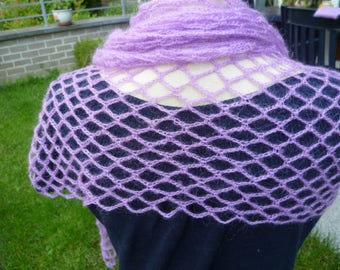 Crocheted scarf handmade mohair in a pretty pink-purple color