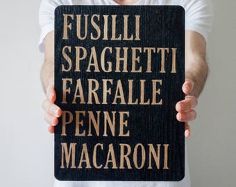 Hand Painted Wooden Pasta Menu Sign