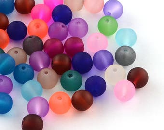 Set of 100 beads assorted frosted glass diam 4 mm-P007