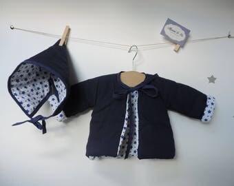 Navy blue cotton hat and vest set