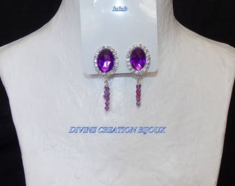 """Purple """"clip"""" earrings and the Crystal beads pendants"""