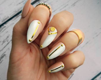 HALF NUDE white custom press on nails with gold accents | glamour fake nail | coffin stiletto almond square matte glossy sparkle long short