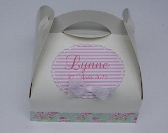 Custom cake box Shabby chic - green, pink and white