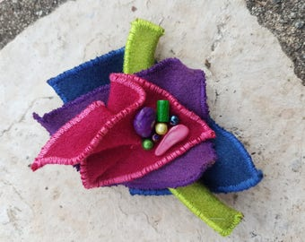hot pink, purple and blue felted brooch