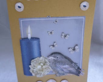 Card any occasion bird and candle