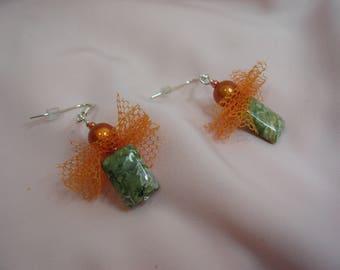 Pierced on silver rhyolite stone earrings