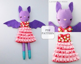 bat doll pattern, bat plush toy pdf, bat toy sewing, bat toy pdf, toy bat sewing, sewing pattern, easy sewing pattern, fashion doll pattern