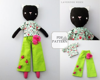 cat sewing pattern, cat pattern, felt sewing pattern, felt toy, gift for mom, gift for her, sewing pattern, craft doll pattern, craft pdf