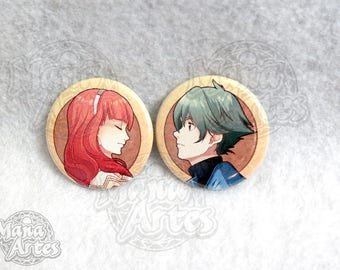 """Fire Emblem: Echoes, Alm and Celica Pin button) 1.5"""""""