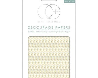 Paper patch (3 sheets) background decor gold - CCDECP070