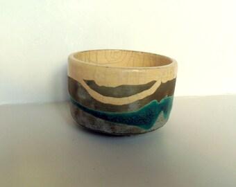 Raku ceramic tea bowl signed chawan ecru green Raku bowl green