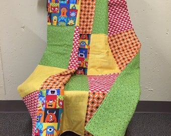 35X50 Baby Boy Quilt Silly Monsters