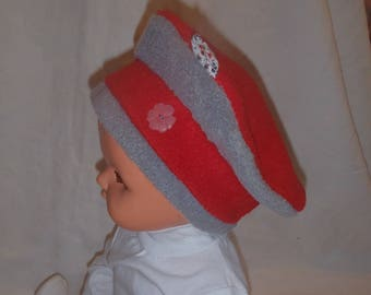 Fleece winter hat (baby - toddler up to 4 years) red and gray
