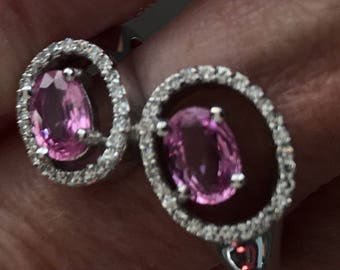 Hot Pink Sapphire and Diamond White Gold Ring