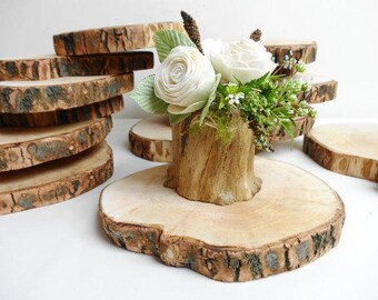 Set of 10 Wedding wood slices treated custom wood trays