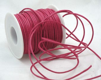 Hot pink waxed cotton cord 2 mm