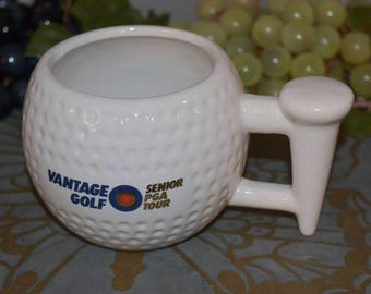Vantage Golf Senior PGA Tour Golf Ball with Tee Ceramic Mug/ Golf Collectibles/ Golf Mugs/ Golf Ball Collectibles/ PGA Tour Collectibles