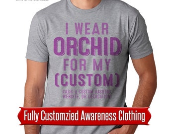 I wear orchid for my custom awareness orchid awareness ribbon cancer awareness custom cancer orchid ribbon shirt testicular cancer shirt