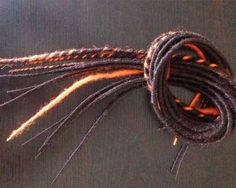 Set of 11 dreads double Brown auburn and orange