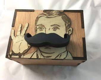 Magic Open Puzzle Box -Mustache Stash