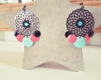 Earrings green Mint, coral and black, charcoal gray rosette (pierced)