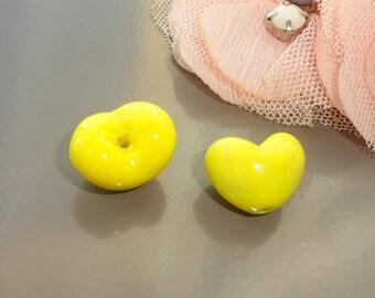 3 bright yellow hearts glass beads glass