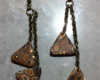 Vintage triangle earrings long fimo