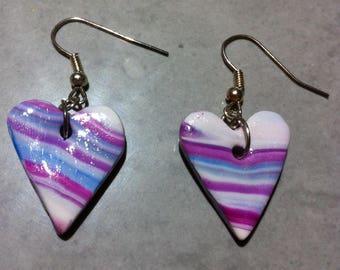 Fancy purple pink striped heart earrings