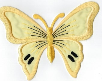 Yellow Butterfly embroidered patch iron or sew Applique Patch 13 x 9.5 cm