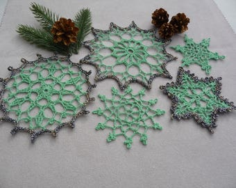 Set 5 placemats for Christmas decoration hand made crochet