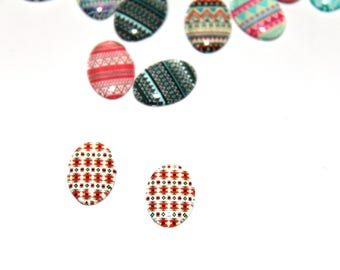 The cabochon oval 18x13mm illustration 5 - ethnic blue, Red
