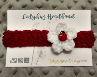Ready to ship Crochet newborn ladybug headband