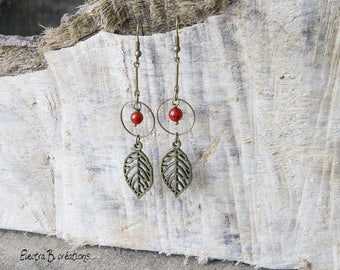 Earrings long Bohemian leaves thin stems Red Sea bamboo