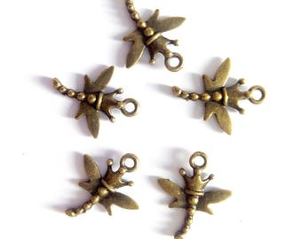 5 crowned bronze Dragonfly charms