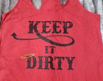 Keep it Dirty coral racer back tank